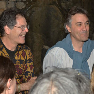 Musicians Steve Gorn (left) and Tim Hill meet workshop participants in Widow Jane cave.